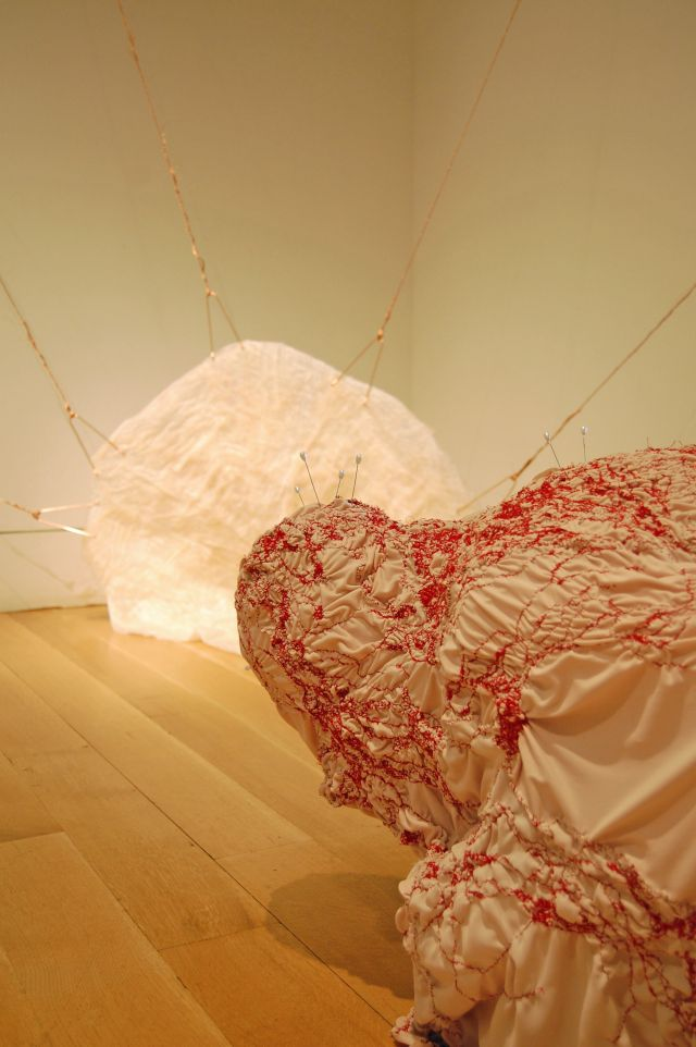 "image: Foreground: Title: ""Let into the Air"" hand-stitched wearable form, needles 2011. Background: Title: ""Buried so Deeply"" flesh sculpture with copper wire and hooks, 2011.  photo: Jes Gamble"